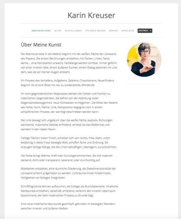 Karin Kreuzer's website front page