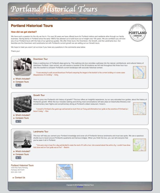 Frontpage for Portland Historical Tours