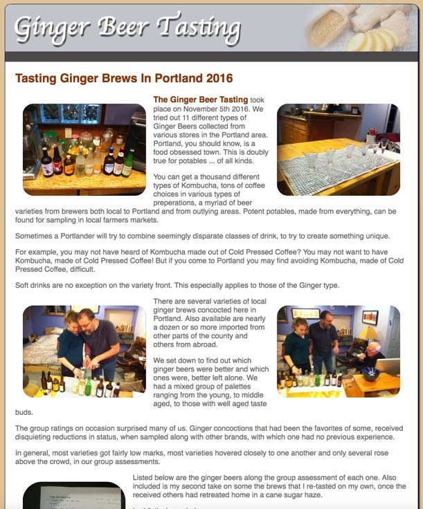 Ginger Beer Tasting Documented Online